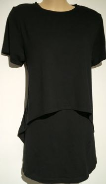 BLOOMING MARVELLOUS BLACK LAYERED TSHIRT NURSING MATERNITY TOP SIZE M 12